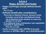 article 8 wages benefits and payday