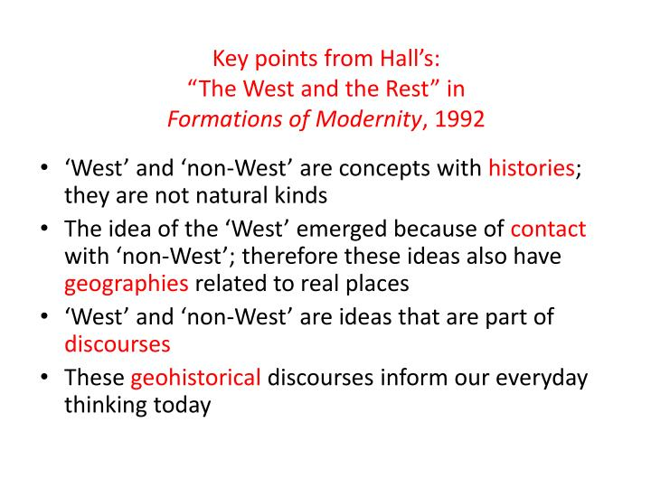 Key points from Hall's: