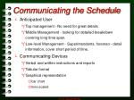 communicating the schedule