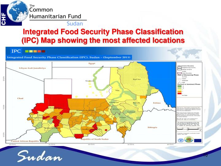 Integrated Food Security Phase Classification (IPC) Map showing the most affected locations
