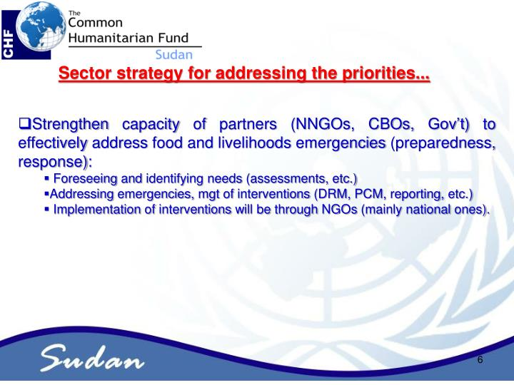 Sector strategy for addressing the priorities...