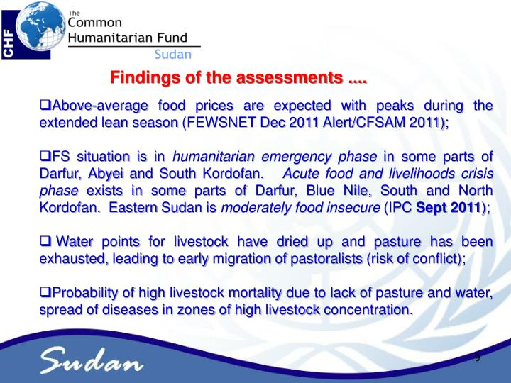 Findings of the assessments ....