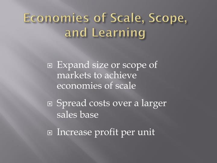 Economies of Scale, Scope, and Learning