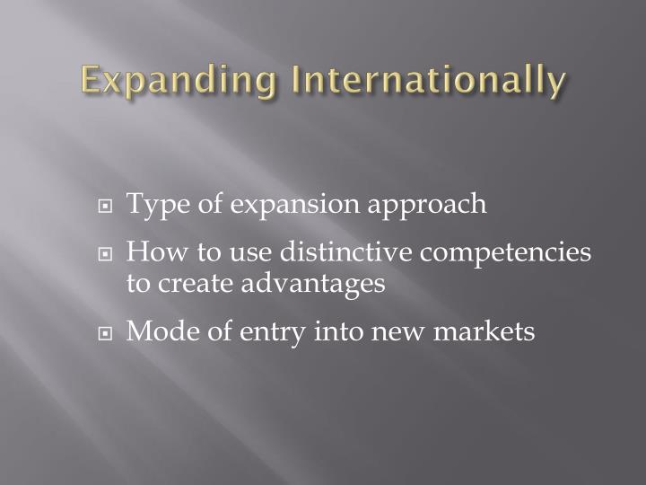 Expanding Internationally