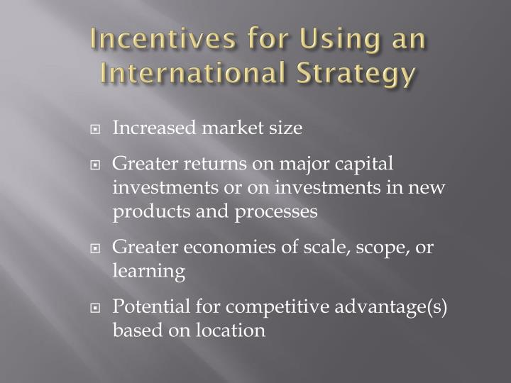Incentives for Using an International Strategy