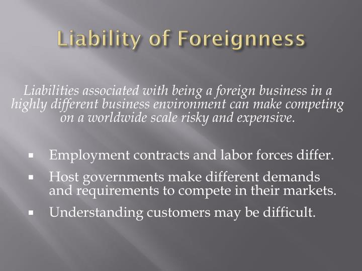 Liability of Foreignness