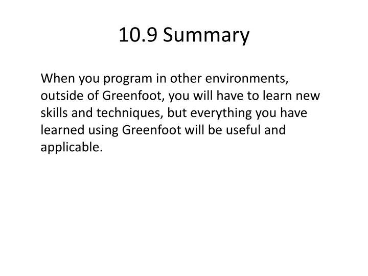 10.9 Summary