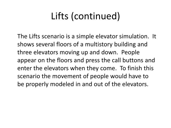 Lifts (continued)