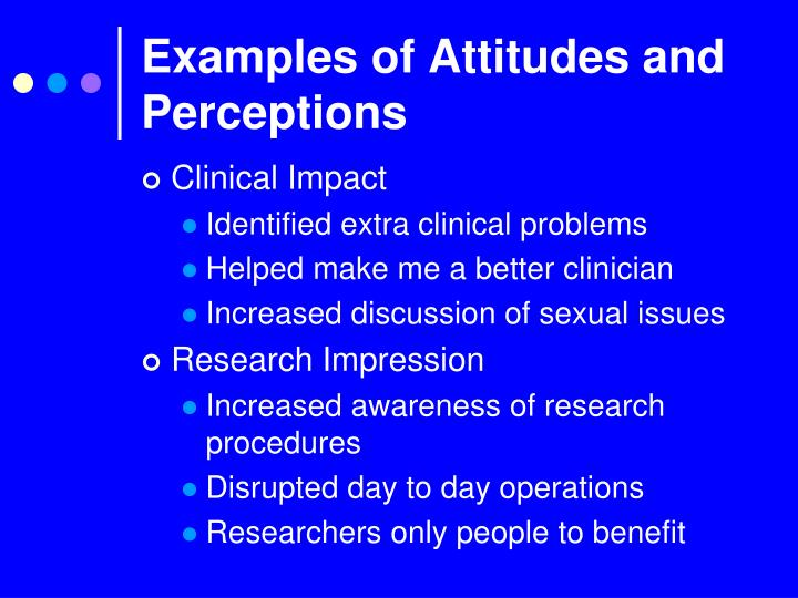 Examples of Attitudes and Perceptions