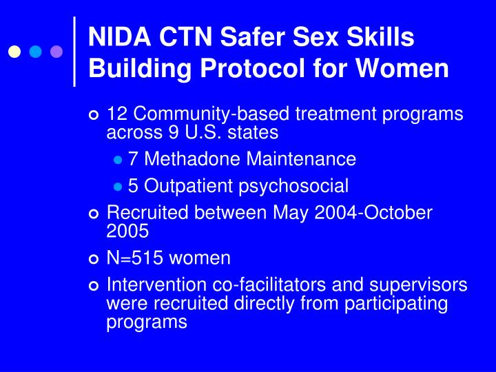 NIDA CTN Safer Sex Skills Building Protocol for Women