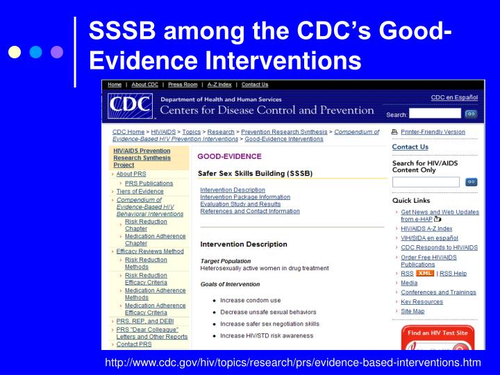 SSSB among the CDC's Good-Evidence Interventions