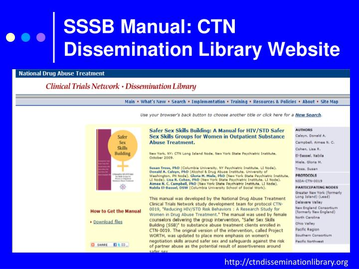 SSSB Manual: CTN Dissemination Library Website