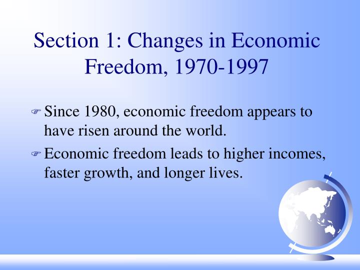 Section 1 changes in economic freedom 1970 1997