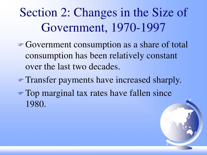 Section 2: Changes in the Size of Government, 1970-1997