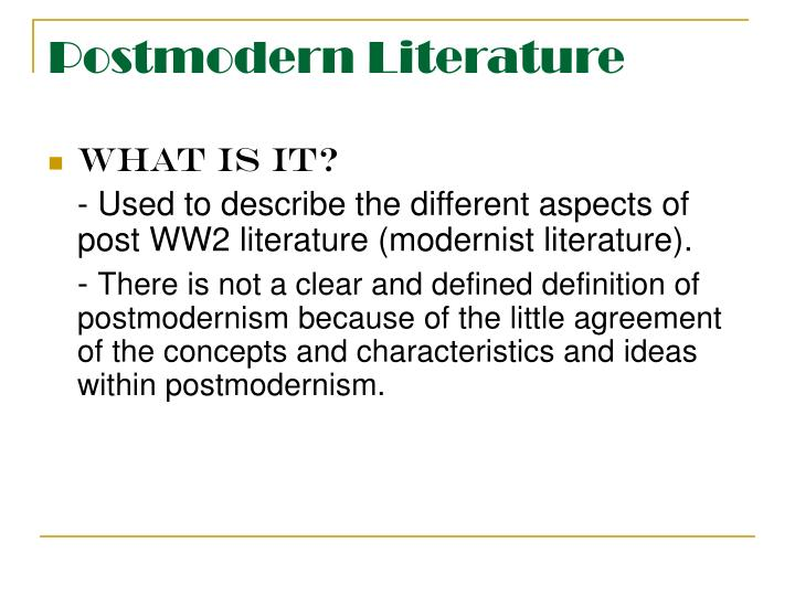 postmodernism characteristics in literature