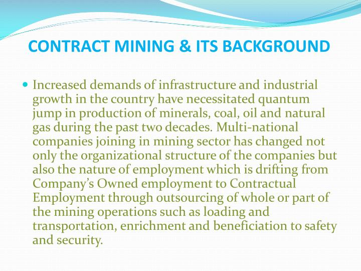 CONTRACT MINING & ITS BACKGROUND