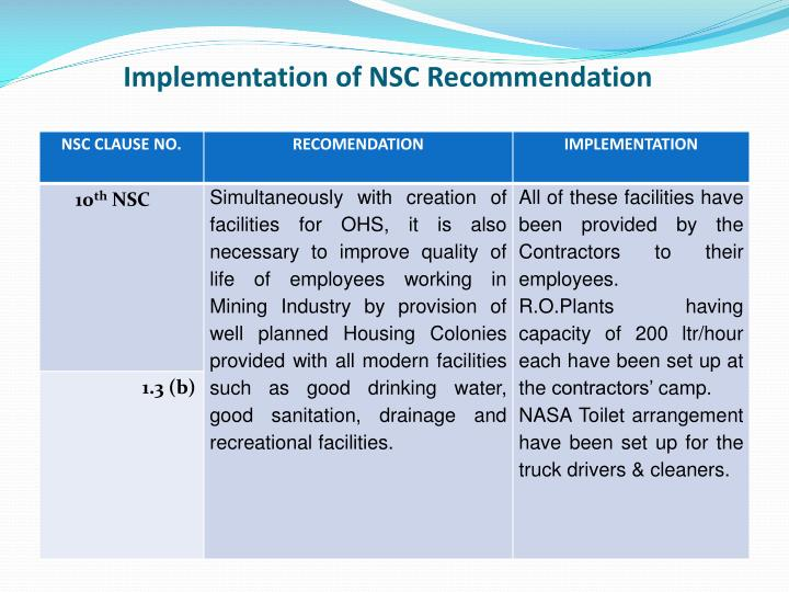 Implementation of NSC Recommendation