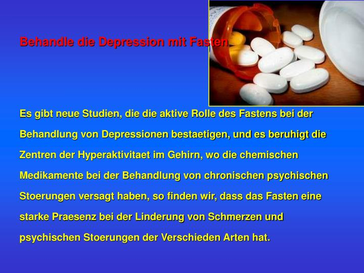 Behandle die Depression mit Fasten