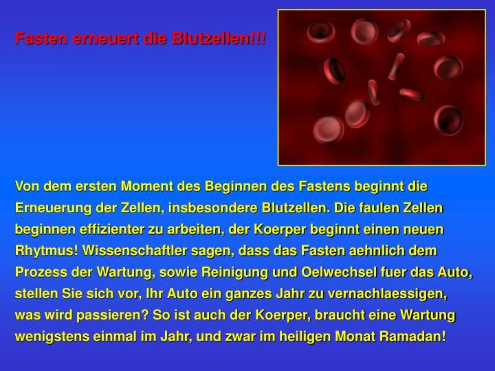 Fasten erneuert die Blutzellen!!!