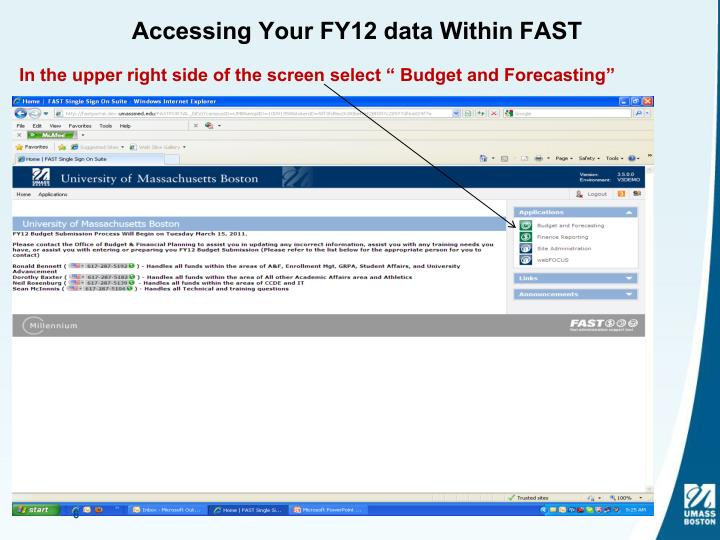 Accessing Your FY12 data Within FAST