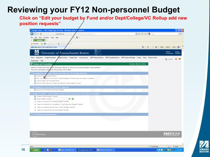 Reviewing your FY12 Non-personnel Budget