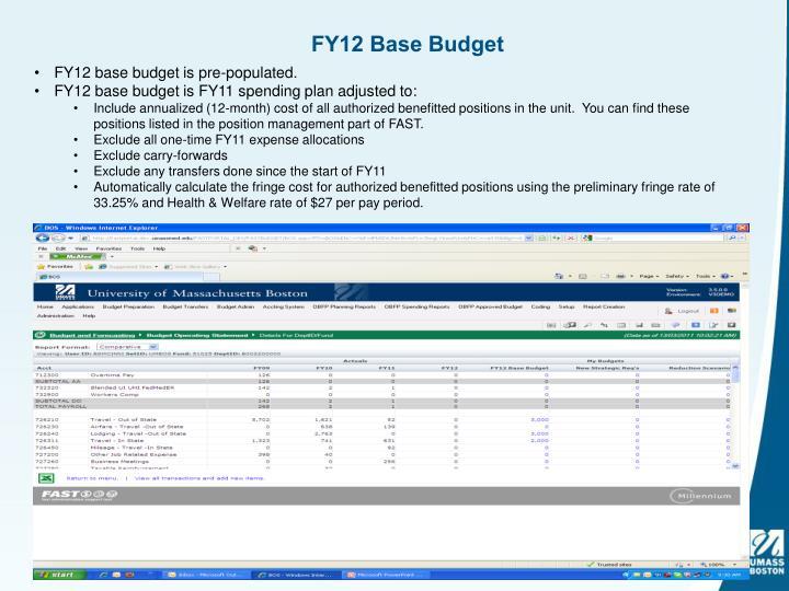 FY12 Base Budget