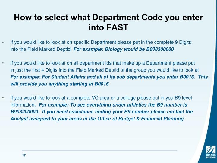 How to select what Department Code you enter into FAST