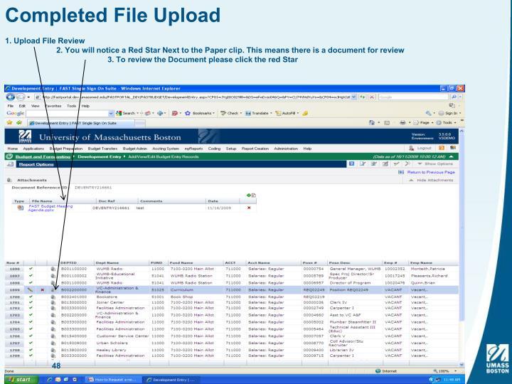 Completed File Upload