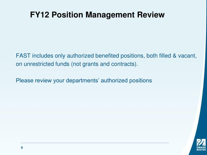 FY12 Position Management Review