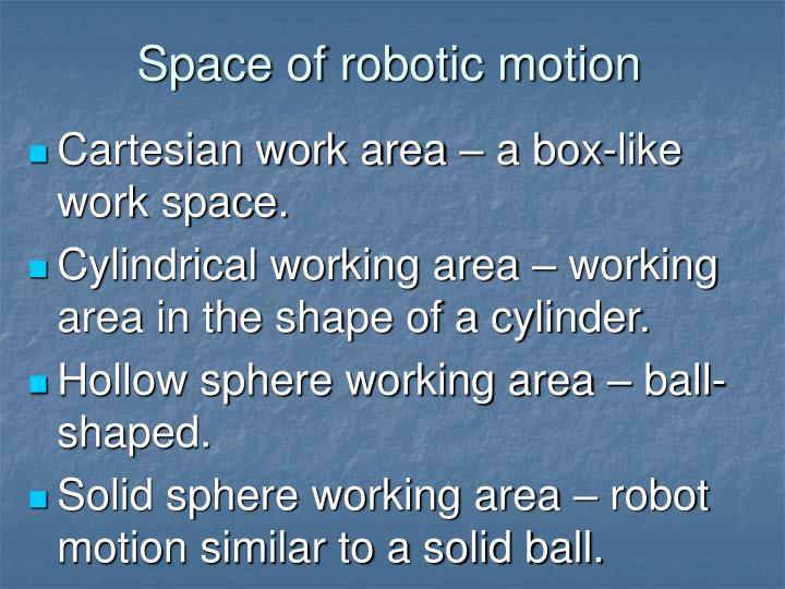 Space of robotic motion