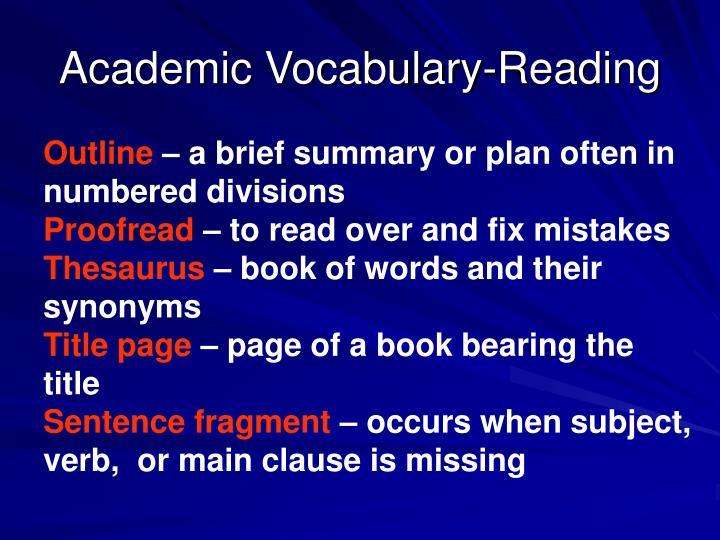 Academic Vocabulary-Reading