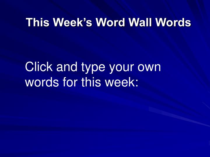 This Week's Word Wall Words