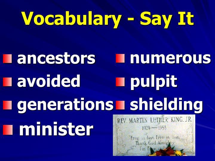 Vocabulary - Say It