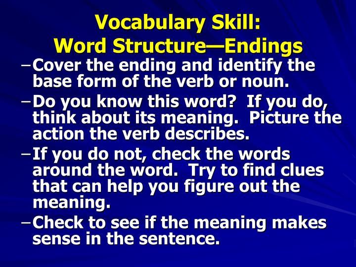 Vocabulary Skill: