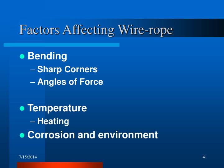 Factors Affecting Wire-rope