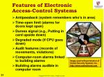 features of electronic access control systems