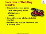 location of building cont d