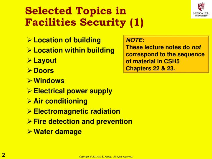 Selected topics in facilities security 1