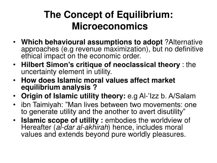The Concept of Equilibrium:
