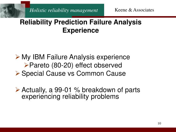 Reliability Prediction Failure Analysis Experience