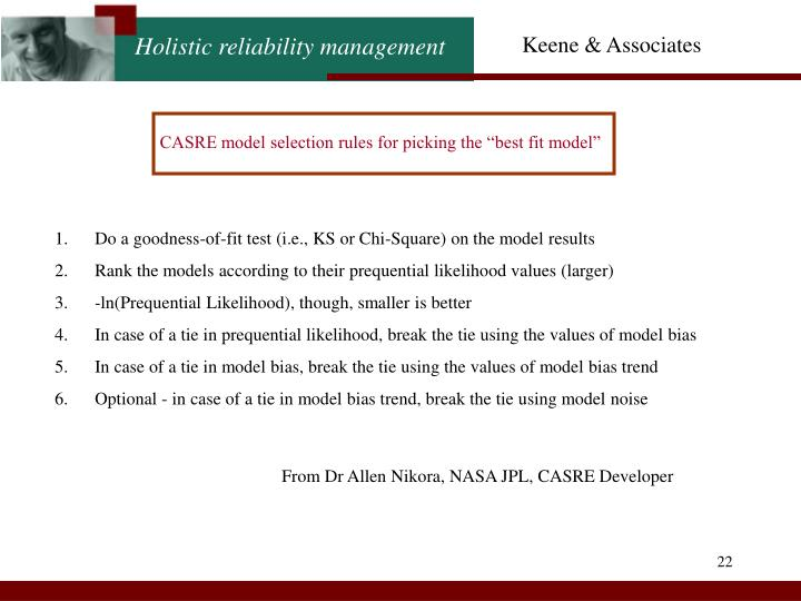 "CASRE model selection rules for picking the ""best fit model"""