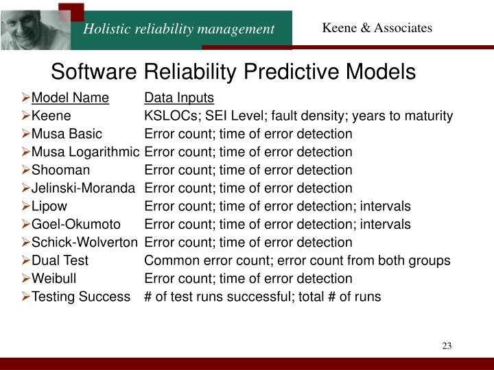 Software Reliability Predictive Models