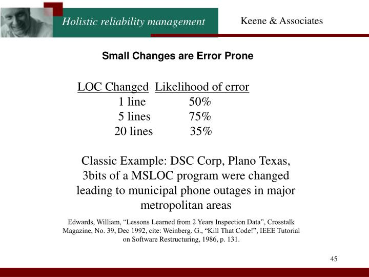 Small Changes are Error Prone