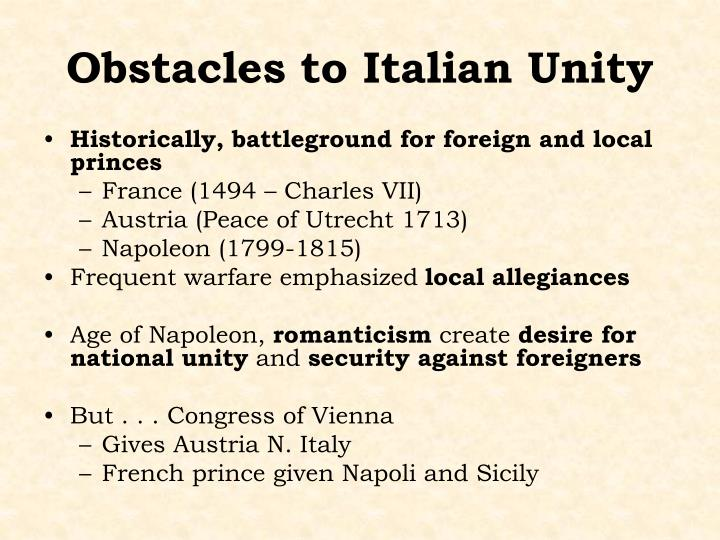 Obstacles to Italian Unity
