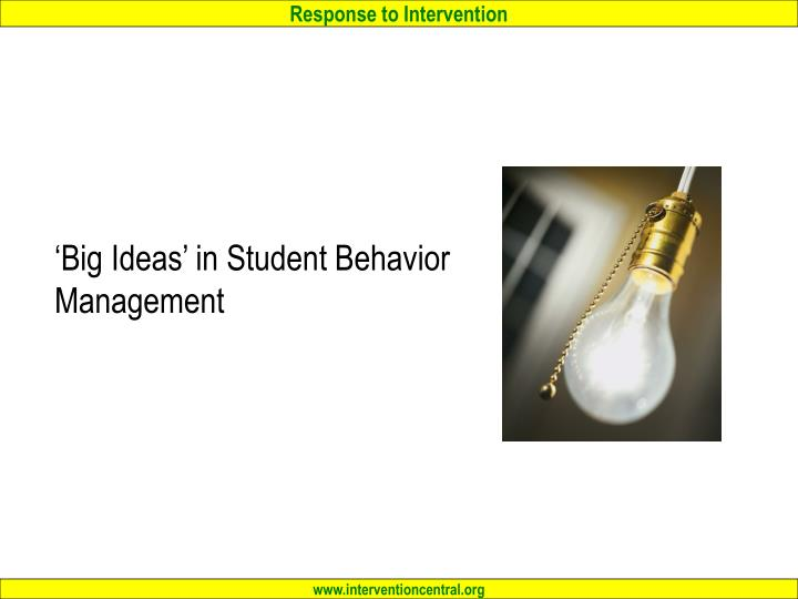 'Big Ideas' in Student Behavior Management