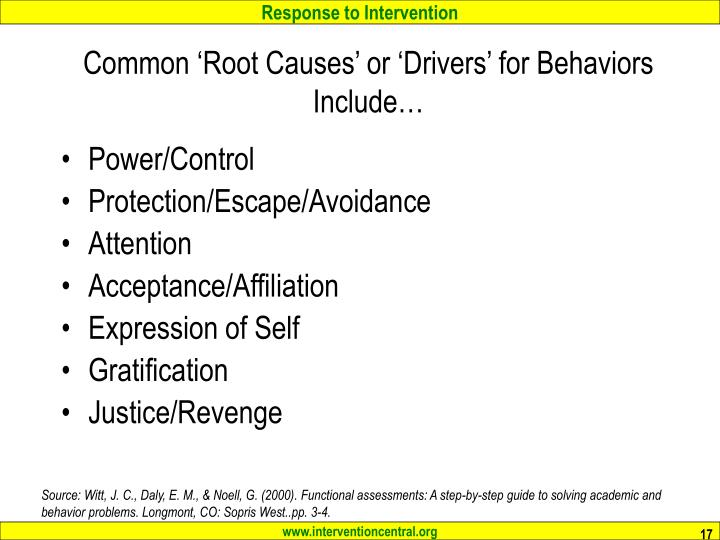 Common 'Root Causes' or 'Drivers' for Behaviors Include…