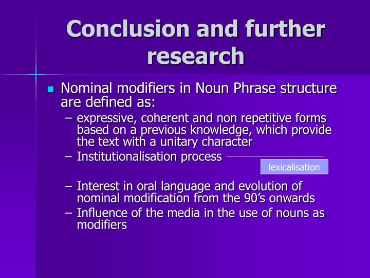 Conclusion and further research
