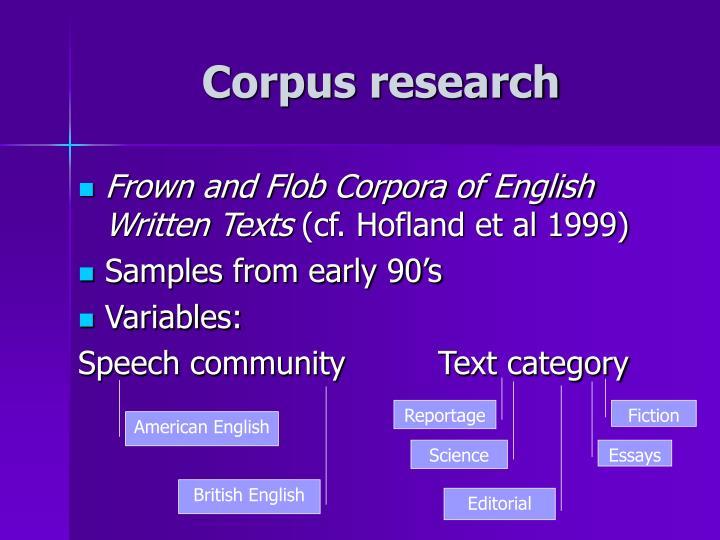 Corpus research