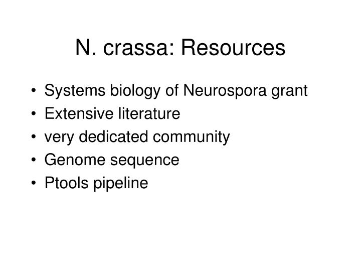 N. crassa: Resources
