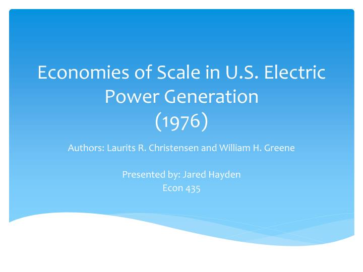 Economies of Scale in U.S. Electric Power Generation